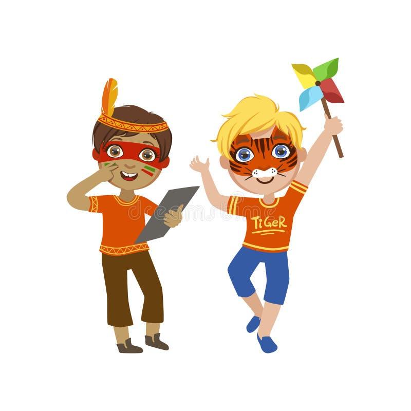 Dos muchachos con las caras pintadas libre illustration