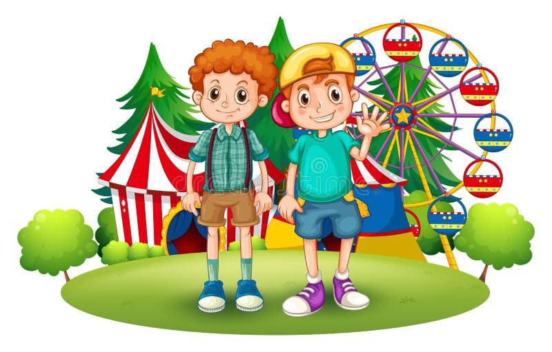 Dos muchachos delante del carnaval ilustración del vector