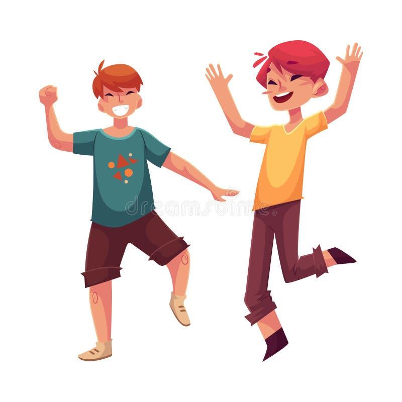 Dos muchachos divertidos, niños que se divierten, bailando en el partido stock de ilustración
