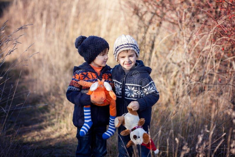 Dos muchachos dulces con los osos de peluche, jugando en el parque en un soleado fotografía de archivo libre de regalías