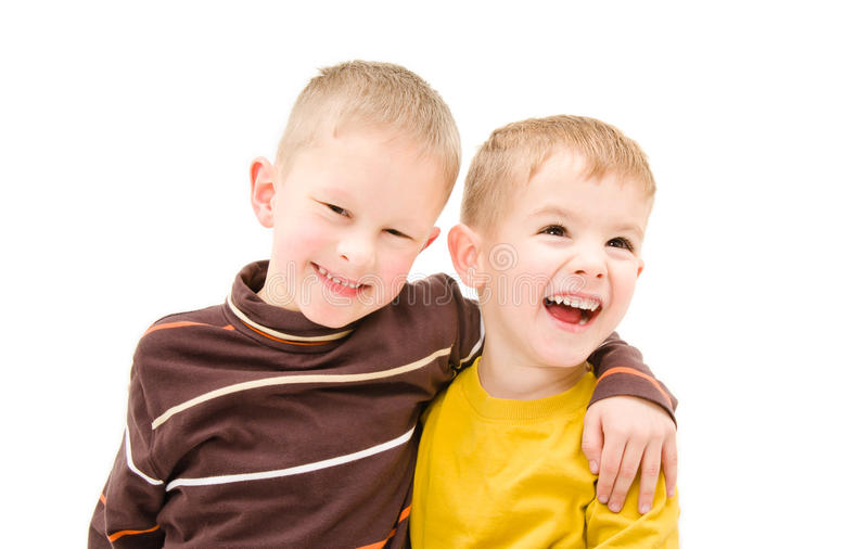 Dos muchachos felices imagen de archivo
