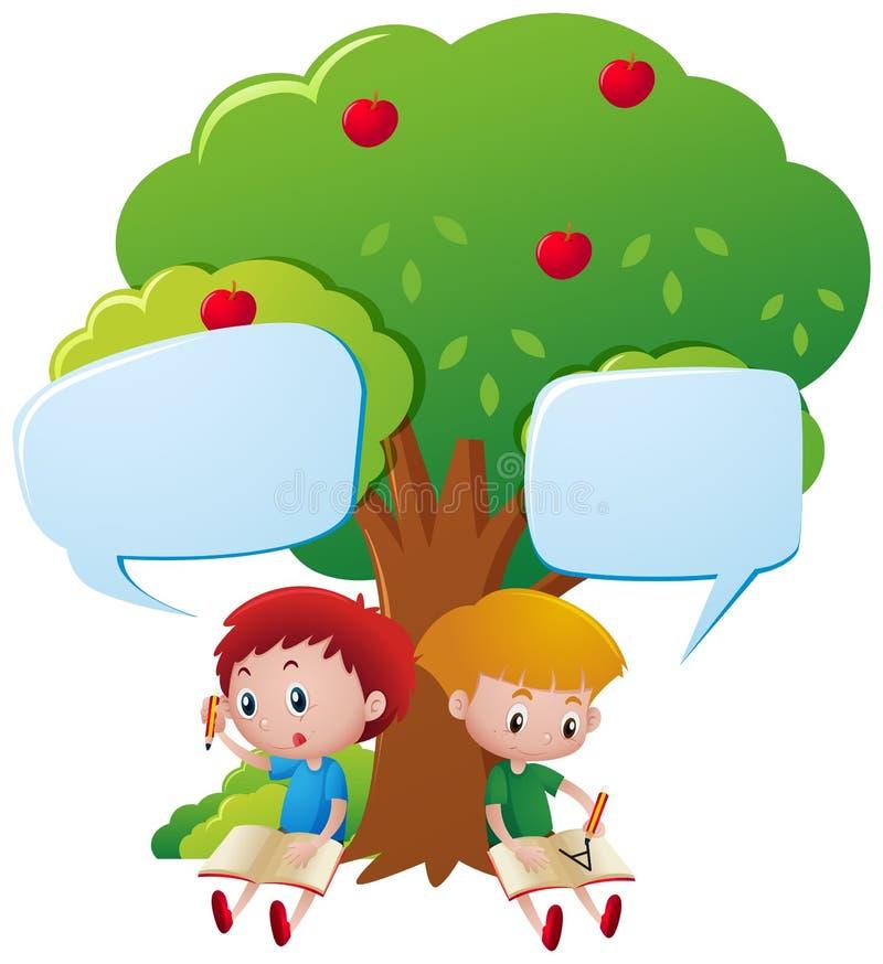Dos muchachos que escriben debajo del árbol libre illustration