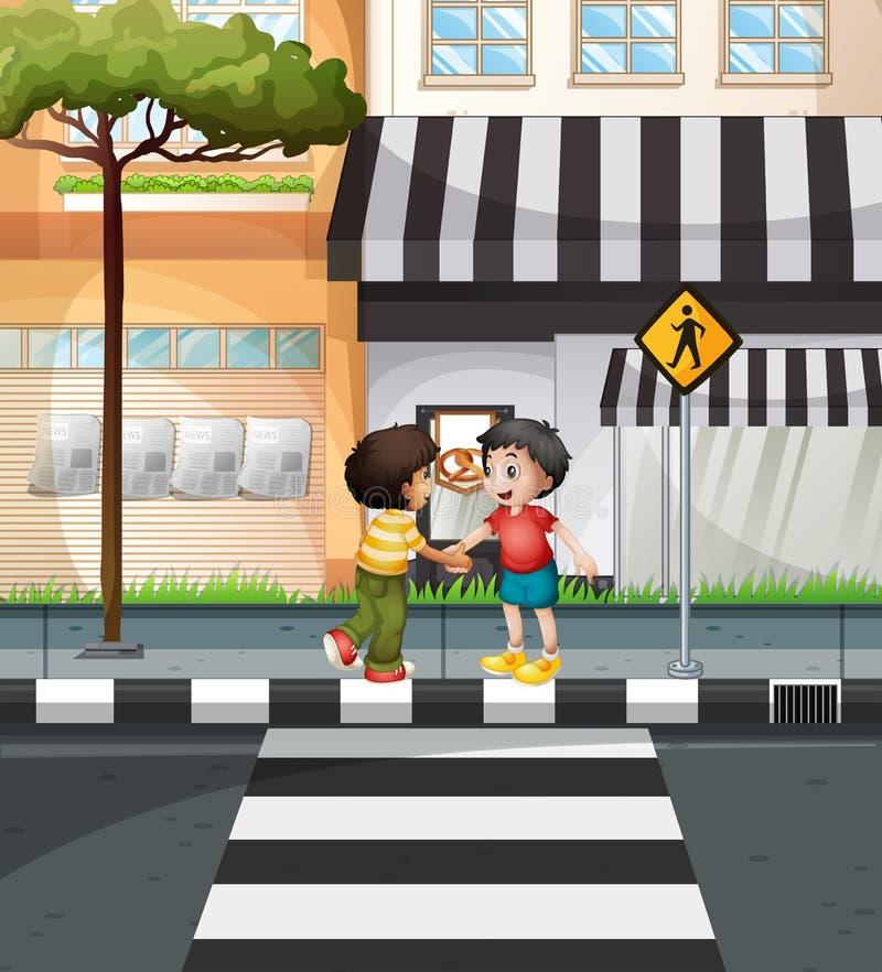 Dos muchachos que esperan para cruzar el camino stock de ilustración