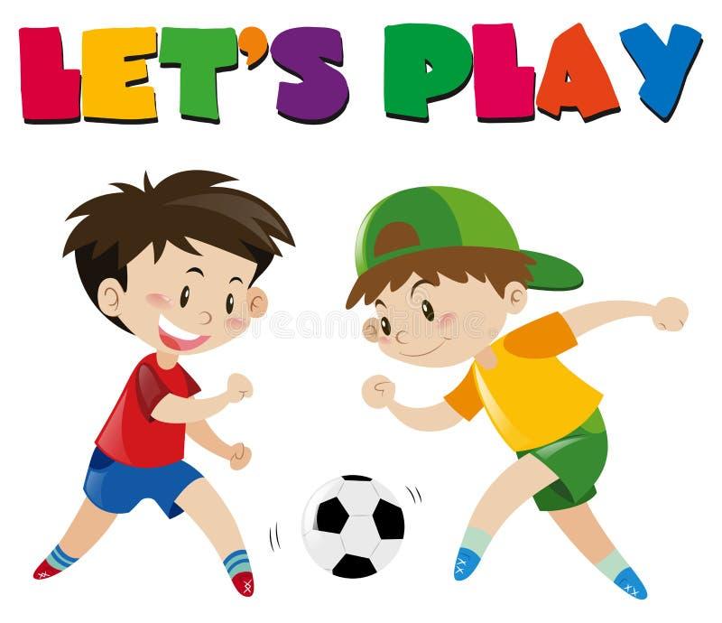 Dos muchachos que juegan al balompié stock de ilustración