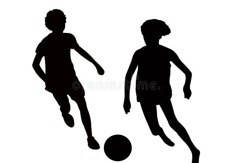 Dos muchachos que juegan al fútbol, vector de la silueta del cuerpo stock de ilustración