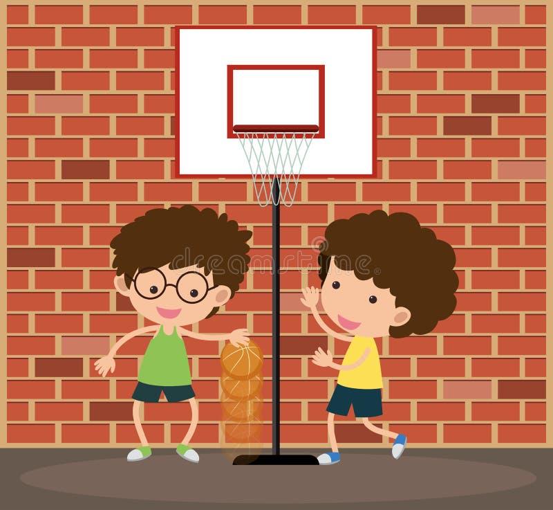 Dos muchachos que juegan a baloncesto en el camino stock de ilustración