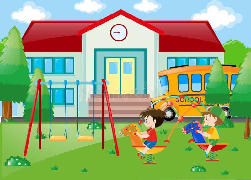 Dos muchachos que juegan en la escuela libre illustration