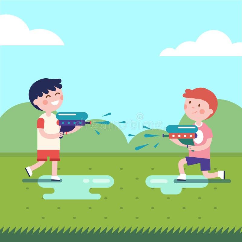 Dos muchachos que juegan guerras de los armas de agua stock de ilustración