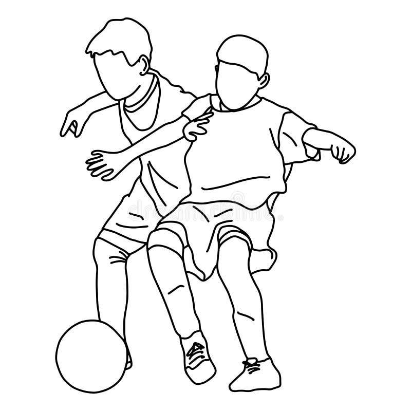 Dos muchachos que juegan la mano del garabato del bosquejo del ejemplo del vector del fútbol dibujada con las líneas negras aisla ilustración del vector