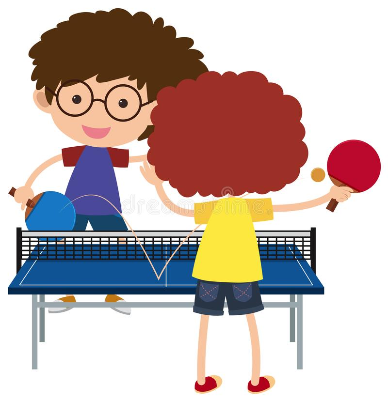 Dos muchachos que juegan a ping-pong libre illustration