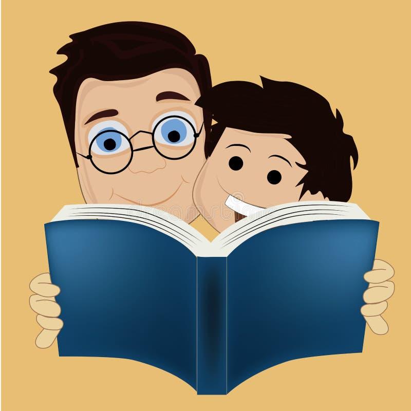 Dos muchachos que leen un libro ilustración del vector