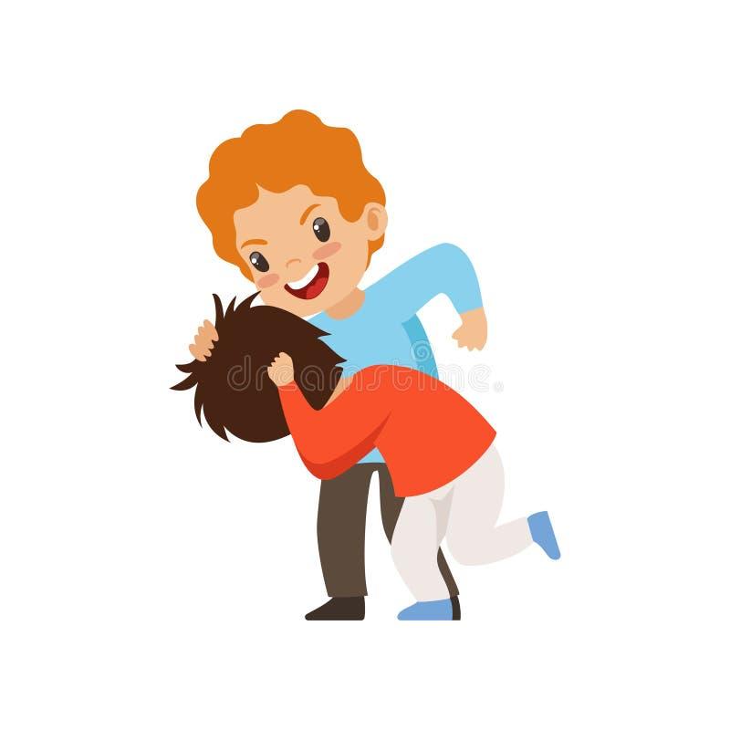 Dos muchachos que luchan, mún comportamiento, conflicto entre los niños, mofa y tiranizando en el ejemplo del vector de la escuel stock de ilustración