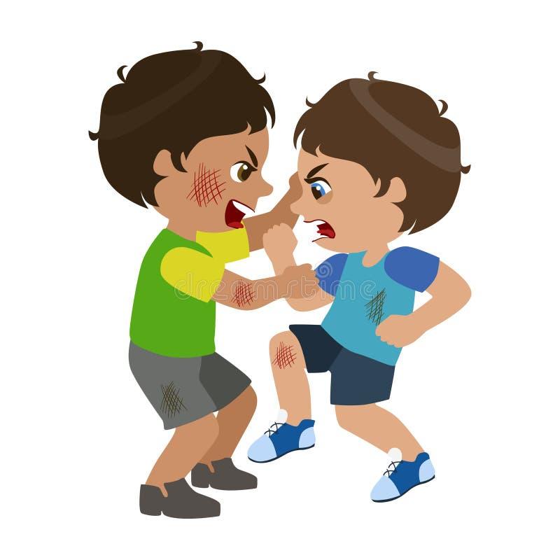 Dos muchachos que luchan y que rasguñan, parte de malo embroman comportamiento y tiranizan la serie de ejemplos del vector con lo stock de ilustración