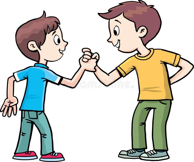 Dos muchachos tienen un acuerdo ilustración del vector