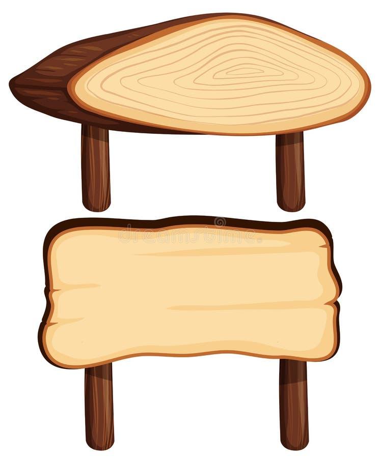 Dos muestras de madera en polos de madera stock de ilustración