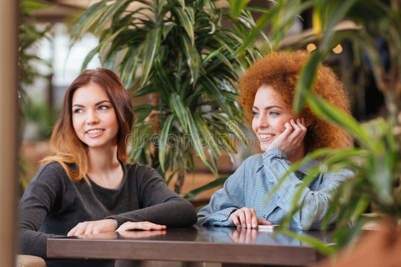 Dos mujeres alegres que se sientan en café y la sonrisa imagen de archivo libre de regalías