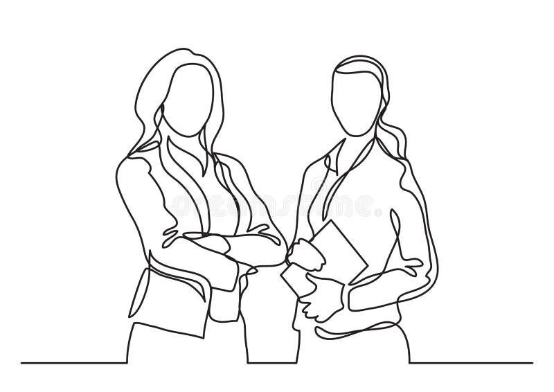 Dos mujeres de negocios permanentes - dibujo lineal continuo stock de ilustración