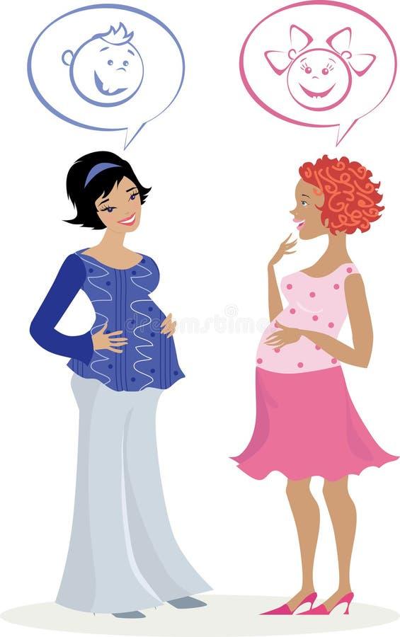 Dos mujeres embarazadas ilustración del vector
