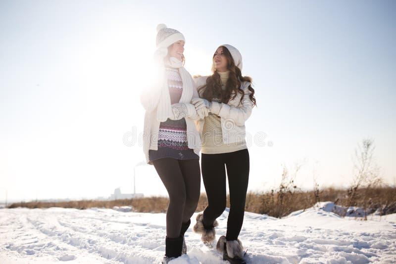 Dos mujeres felices jovenes, dos amigos, divirtiéndose imagenes de archivo
