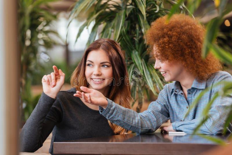Dos mujeres felices que hablan en café y que señalan lejos foto de archivo