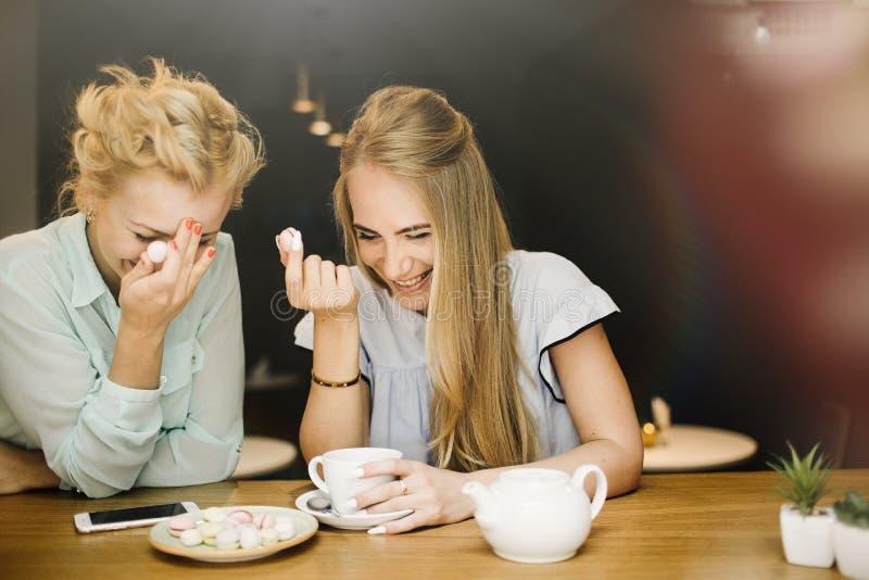 Dos mujeres jovenes encantadoras alegres que beben el café y que hablan adentro fotografía de archivo libre de regalías