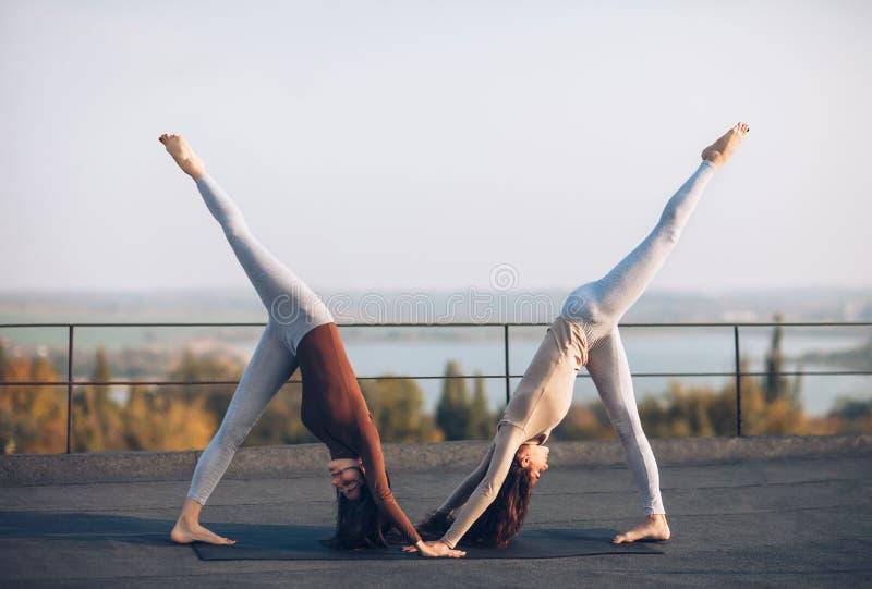 Dos mujeres jovenes que hacen el perro boca abajo del asana de la yoga del socio imagen de archivo