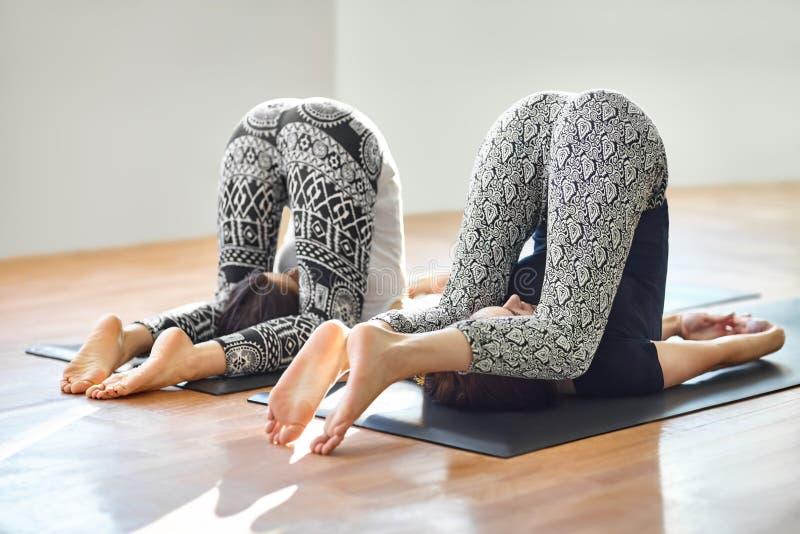 Dos mujeres jovenes que hacen la paleta fácil del asana de la yoga presentan foto de archivo libre de regalías