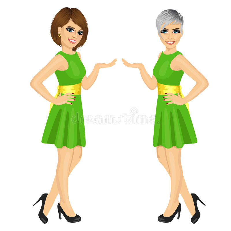 Dos mujeres justas profesionales hermosas de la presentadora que muestran algo ilustración del vector
