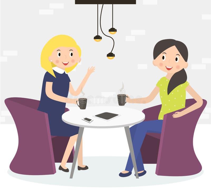Dos mujeres lindas de los amigos que beben el café libre illustration