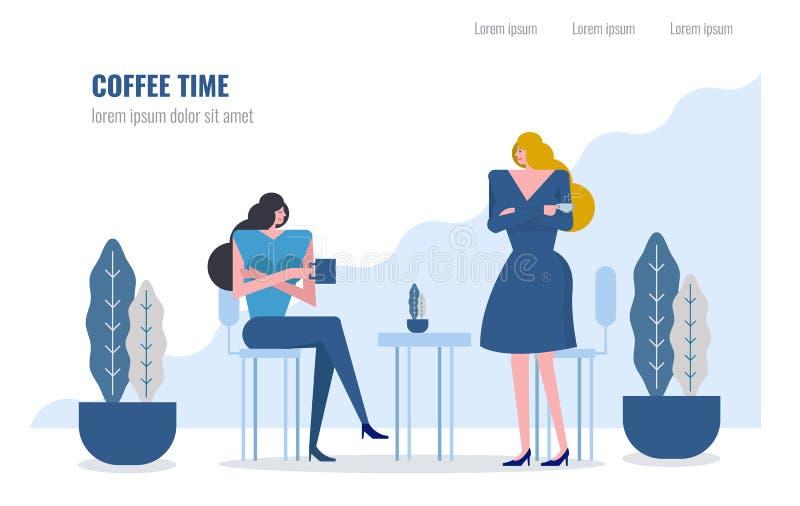 Dos mujeres que beben el café y que charlan en café ilustración del vector