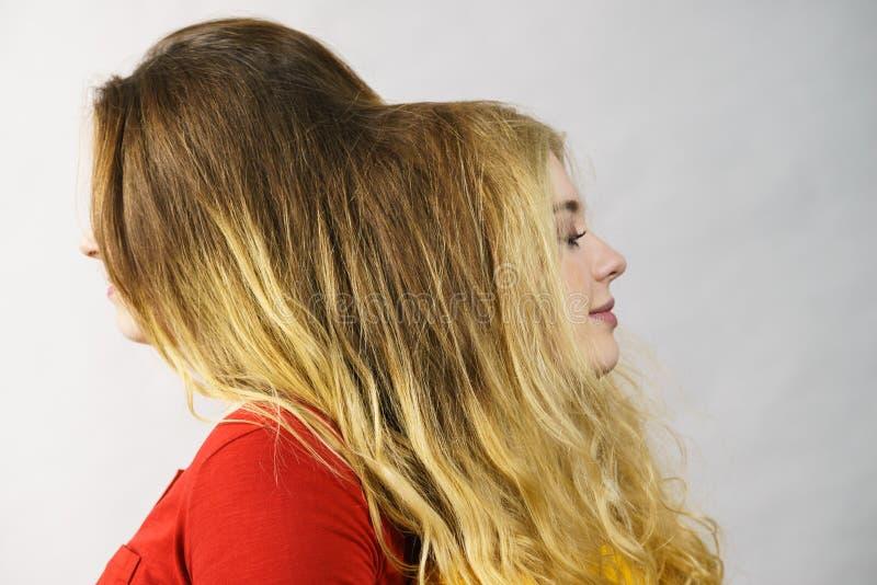 Dos mujeres que juegan con el pelo fotografía de archivo libre de regalías
