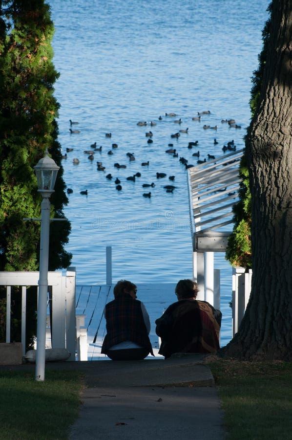 Dos mujeres que miran los patos del muelle en el lago Delavan, Wisconsin fotos de archivo