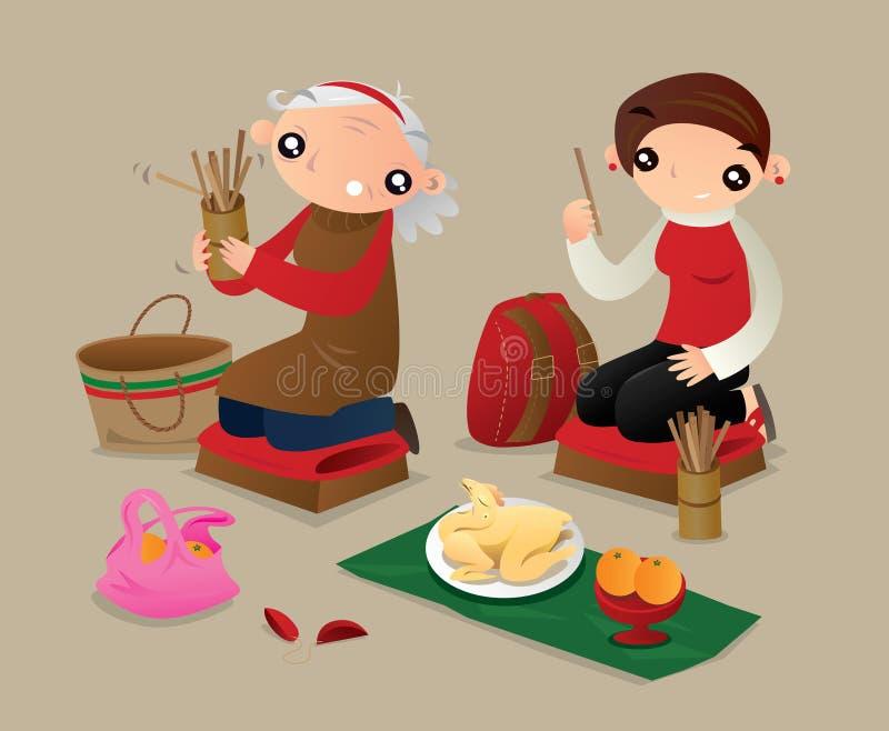 Dos mujeres sacuden un tubo de los palillos de la fortuna para dibujar porciones para la predicción futura libre illustration