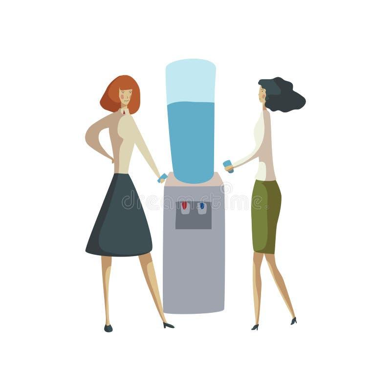 Dos mujeres se están colocando con los vidrios en sus manos cerca del refrigerador Ilustraci?n del vector en el fondo blanco libre illustration