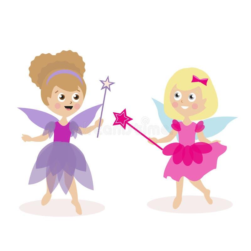 Dos niñas en trajes y hadas con las varas mágicas Vestido para el día de fiesta de los niños, o funcionamiento carácter plano ilustración del vector