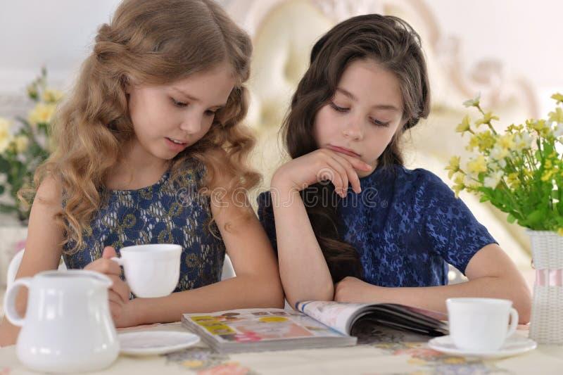 Dos niñas que beben té foto de archivo