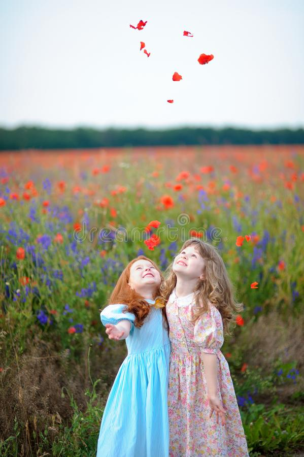 Dos niñas que juegan en prado con los wildflowers fotos de archivo