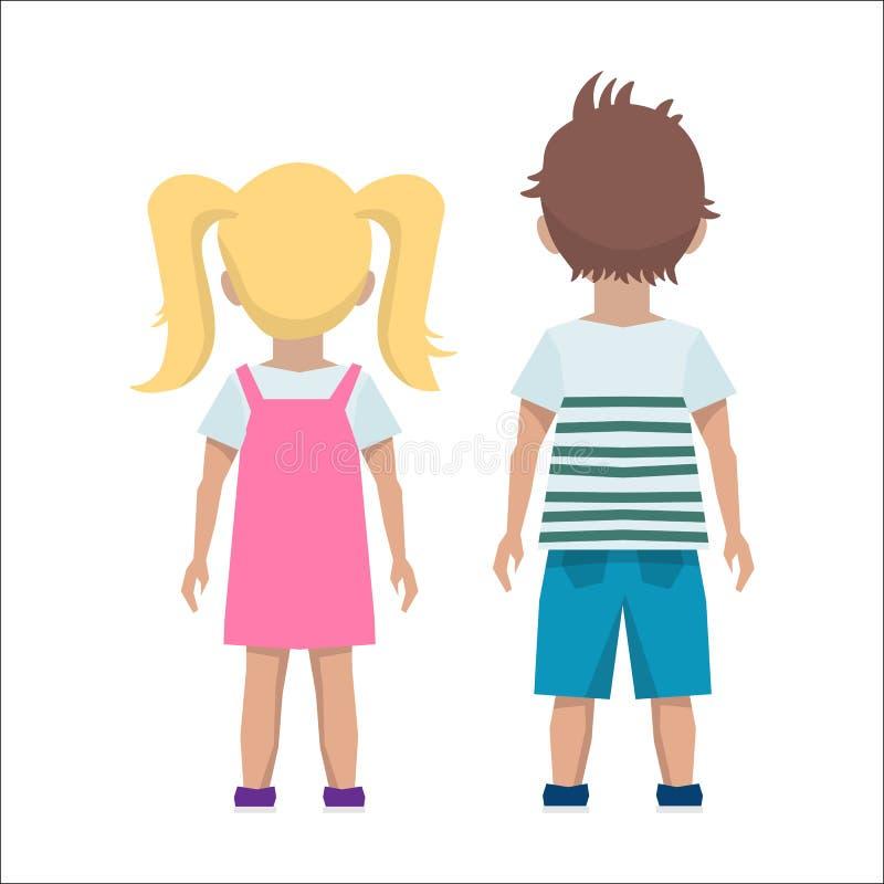 Dos niños dieron vuelta a sus partes posteriores en un fondo blanco imagen de archivo libre de regalías