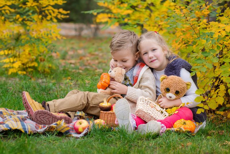 Dos niños felices que juegan en el parque del otoño fotos de archivo