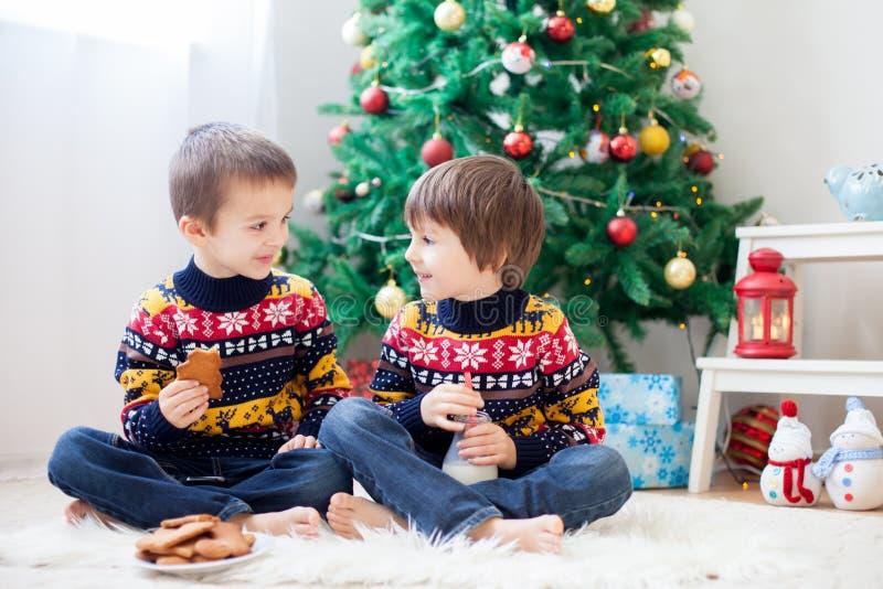 Dos niños, hermanos adorables del muchacho, comiendo las galletas y la consumición fotos de archivo libres de regalías