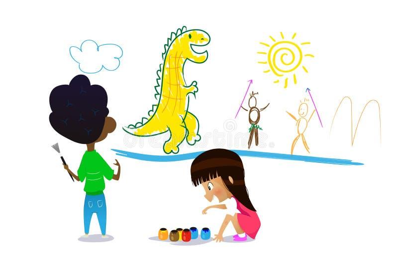 Dos niños lindos de la historieta pintan dibujos en la pared ilustración del vector