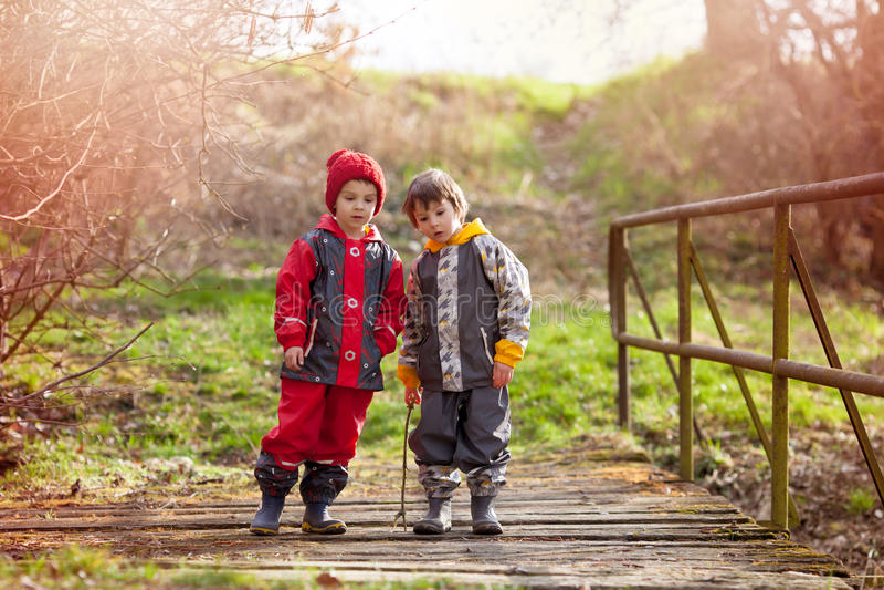 Dos niños lindos, hermanos del muchacho, jugando junto en el parque, r imagen de archivo