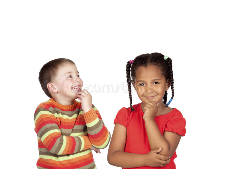 Dos niños pensativos imagen de archivo