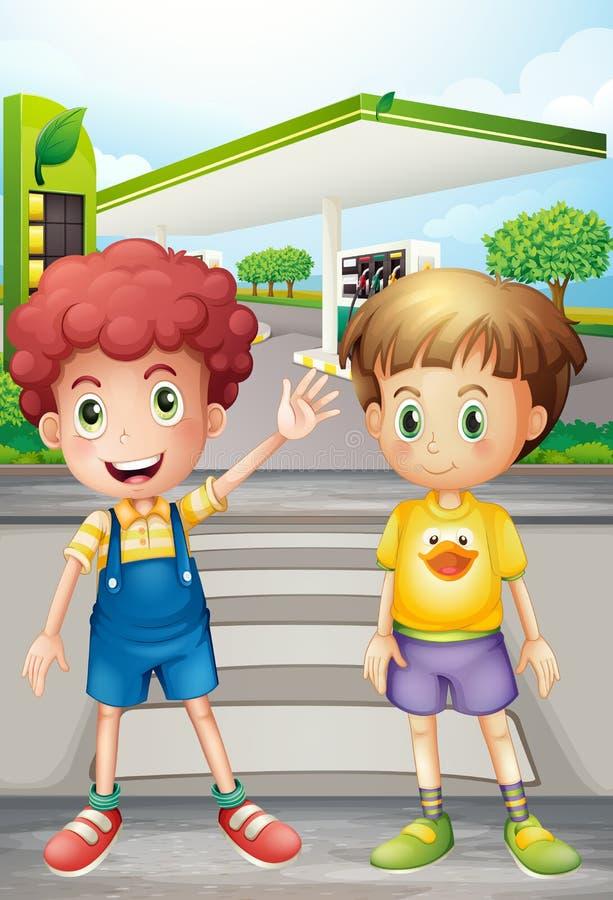 Dos niños pequeños cerca de la estación de gasolina stock de ilustración