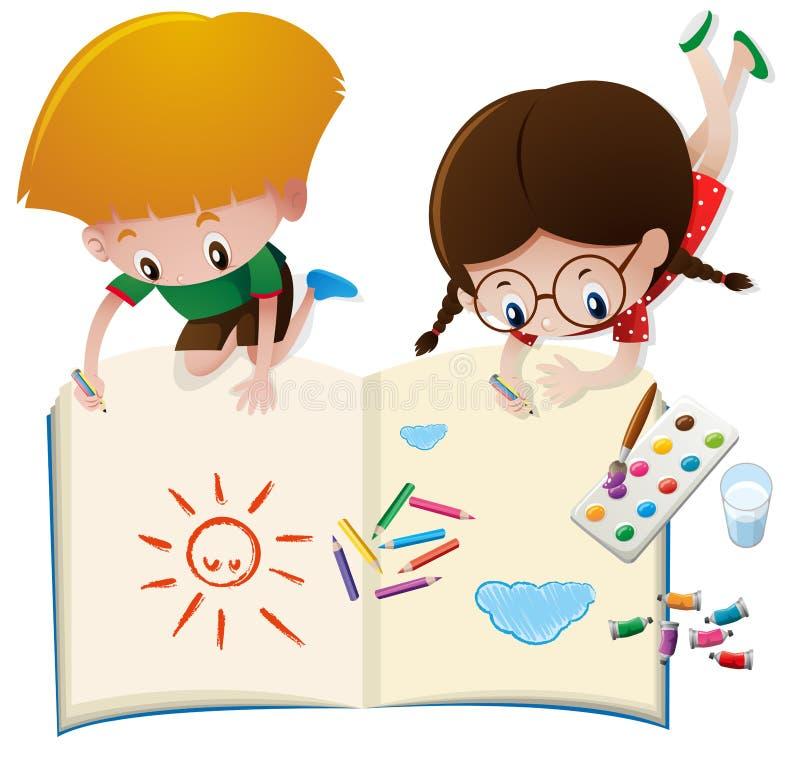 Dos niños que dibujan en el libro grande libre illustration