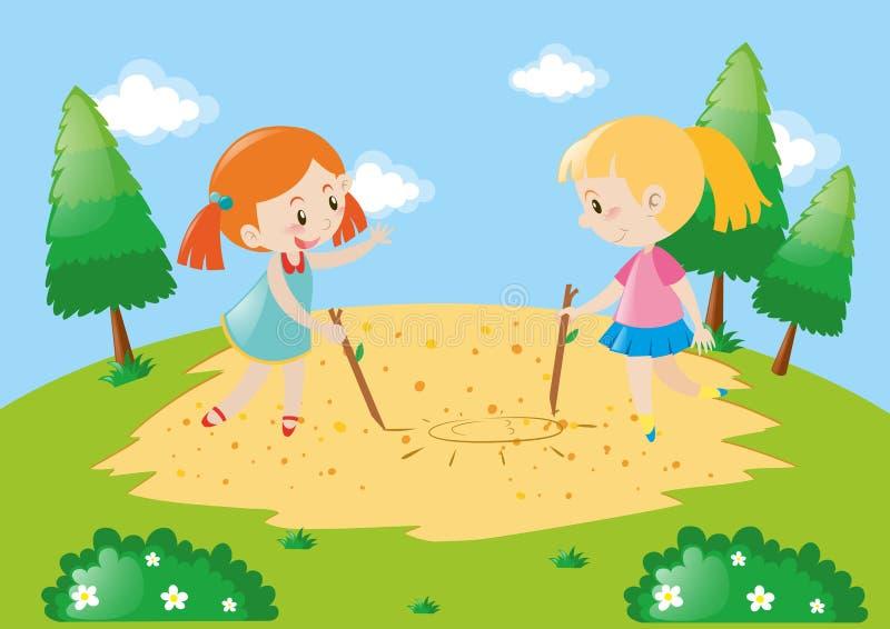 Dos niños que dibujan en la tierra libre illustration