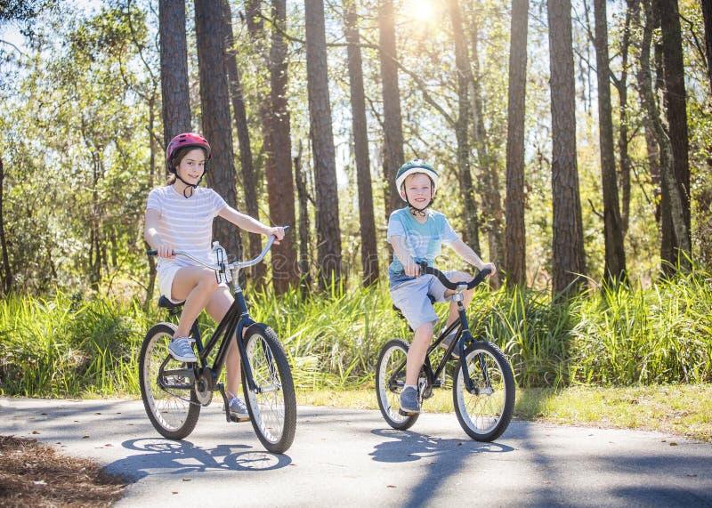 Dos niños que montan las bicis juntas al aire libre en un día soleado imágenes de archivo libres de regalías