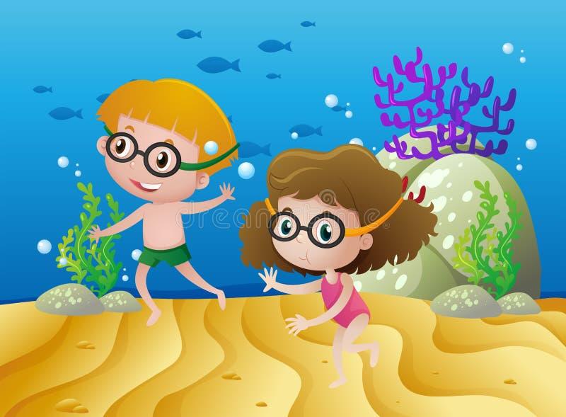 Dos niños que se zambullen debajo del mar stock de ilustración