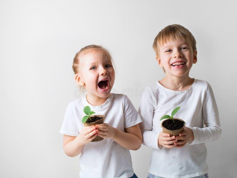 Dos niños sonrientes con tema de los brotes y de las herramientas que cultivan un huerto, de la ecología y del ambiente en el fon imagen de archivo