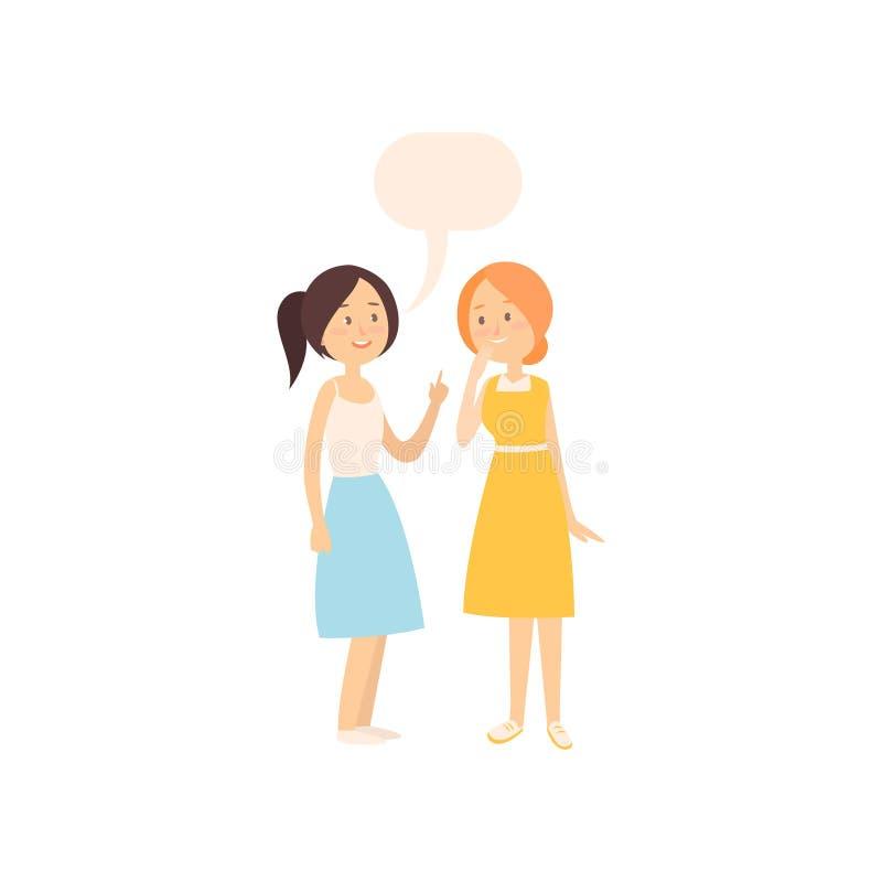 Dos novias jovenes sonrientes que hablan del tiempo de verano ilustración del vector